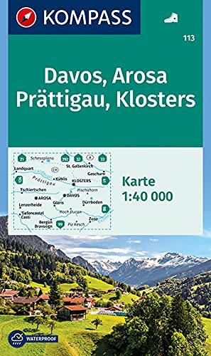 KOMPASS Wanderkarte Davos, Arosa, Prättigau, Klosters: Wanderkarte. GPS-genau. 1:40000 (KOMPASS-Wanderkarten, Band 113)