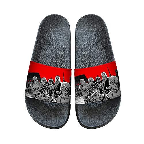 JoJo's Bizarre Adventure Deslizadores de la playa y la piscina zapatos de la casa zapatillas espalda abierta sandalias antideslizante Ducha sandalias de verano ( Color : A03 , Size : EU39 US7.5 )