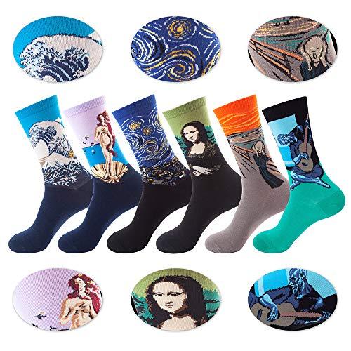 Deton Calcetines Estampados Para Hombres, 6 Para Calcetines Coloridos Funky Arte Retro Pinturas Famosas Calcetines, Calcetines de Colores de Media Pantorrilla