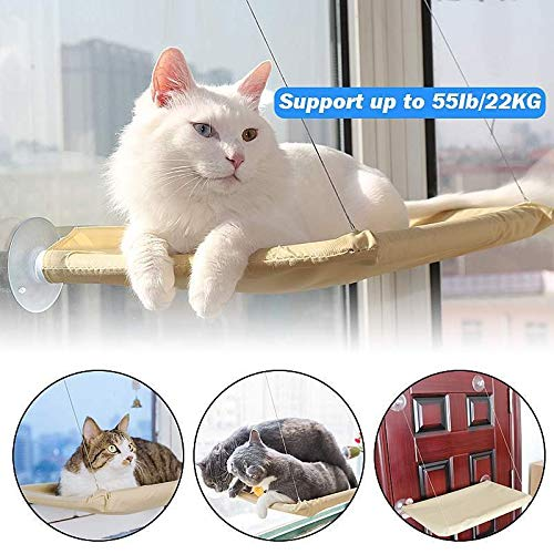 Yayan Pet Hanging Bed Cat Beds Sucker Window Mounted Perch Cat Hammock Wood Shelf Seat Pet Climbing Toys Supports up to 20kg