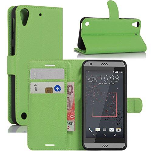 HualuBro HTC Desire 530 Hülle, Premium PU Leder Leather Wallet HandyHülle Tasche Schutzhülle Flip Hülle Cover für HTC Desire 530 Smartphone (Grün)