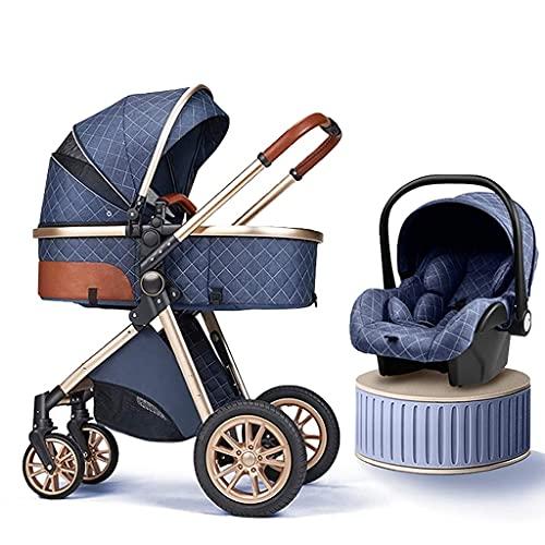 Cochecito de bebé 3 en 1, sistema de viaje plegable de alto paisaje antichoque cochecito de bebé recién nacido con organizador de cochecito, cochecito utilizado en 0-3 años de edad (color: A)