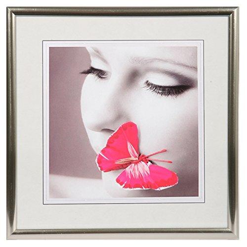 New Lifestyle Kunststoff Bilderrahmen quadratisch 20x20 30x30 40x40 50x50: Farbe: Silber | Format: 20x20