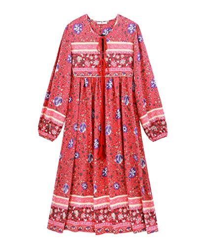 R.Vivimos Women's Long Sleeve Floral Print Retro V Neck Tassel Bohemian Midi Dresses (Small, Watermelon Red)