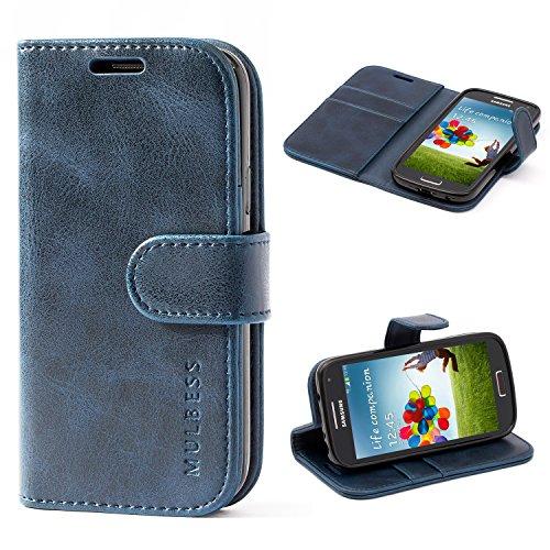 Mulbess Handyhülle für Samsung Galaxy S4 Mini Hülle Leder, Samsung Galaxy S4 Mini Handytasche, Vintage Flip Schutzhülle für Samsung Galaxy S4 Mini Case, Navy Blau