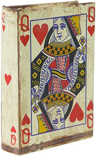 Porta Carte da Gioco - Scatola in Legno - Realizzata a Mano e rivestita in stoffa con effetto anticato - 1 compartimento - Dimensioni esterne 10x3x14 cm - Mazzo da 54 carte incluso
