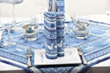 Sovie HOME Linclass® Airlaid Tischdecke Seaside | Mitteldecke 80×80 cm stoffähnlich | edle Tischdeko Meer Muschel Koralle | blau - 2