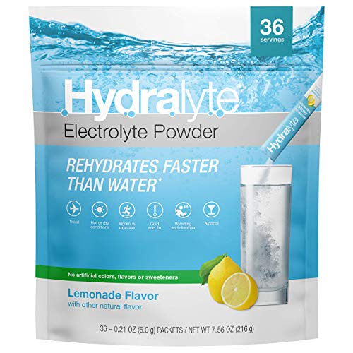 Hydralyte All-Natural Electrolyte Hydration Powder Sticks, Instant Dissolve ORS Drink Mix, Lemonade, 36 Count