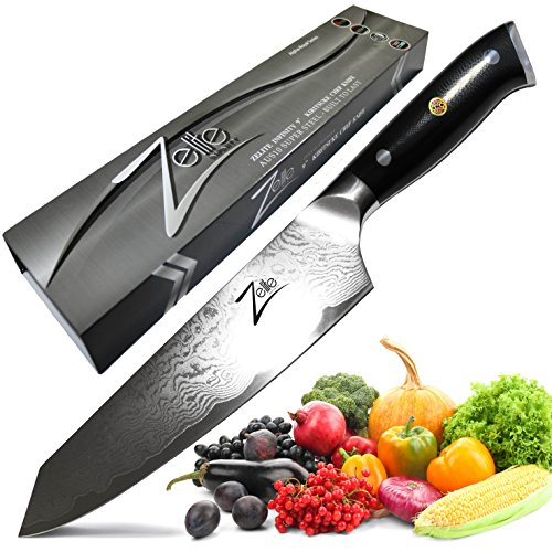 ZELITE INFINITY Kiritsuke Chef Knife 9 inch - Alpha-Royal Series - Best Quality Japanese AUS10 Super Steel 67 Layer Damascus ? Surgically Sharp, Superior Performance, Ultra Versatile Chefs Knives