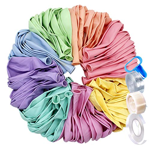 Pastel Balloons for Parties 10 Inch 100 Pcs Party Decorations for Arch Kit with Garland Strip Tying Tool Ribbon Glue Dots Christmas