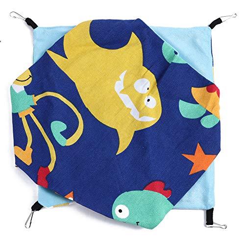Ymiko Hamster Hangmat Bed Opknoping Bed Dubbellaags Canvas Nest Warm Zacht Bed Huis Slaapbed voor Klein Huisdier, Hamster, Cavia, Chinchilla(Oceaan)