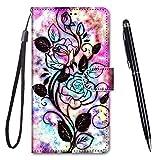 TOUCASA für Galaxy A60 Hülle, Handyhülle für Galaxy A60,Premium Brieftasche PU Leder Flip [Kreativ Gemalt] Hülle Handytasche Klapphülle für Samsung Galaxy A60 (Hohlblume)