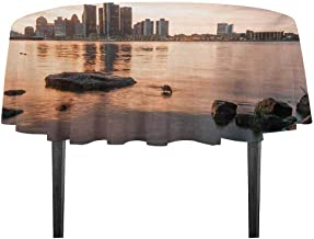 kangkaishi Detroit Printed Tablecloth Idyllic Sunset View with High Rise Buildings Riverfront Rocks Calm Peaceful Desktop Protection pad D35.4 Inch Coral Dark Brown