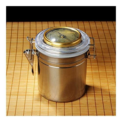 JYSLI Fest Qualitäts-Zigarette/Zigarre Moisturizer mit Hygrometer Edelstahl Kaffeebohne Storage Jar Senden Moisturizing Tablets Ausgezeichnet (Color : High 125mm)