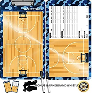 Tatti Coaches Clipboards Double Sided Premium Coaching Board with Dry Erase Markers and A Whistle : Choose Form Basketball and Soccer Coaches Boards (Navy Blue)