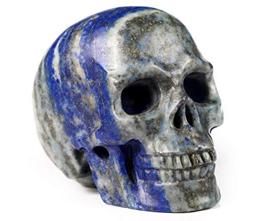 Skullis 2.0' Lapis Lazuli Crystal Skull, Hand Carved Gemstone Fine Art Sculpture, Reiki Healing Stone Statue.
