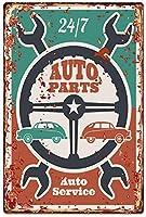 自動車部品サービス24/7ビンテージメタルティンサインレトロポスター壁の装飾