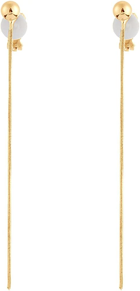 Simple Long Tassel Clip on Dangle Earring Clip for non Pierced Fashion for Girl