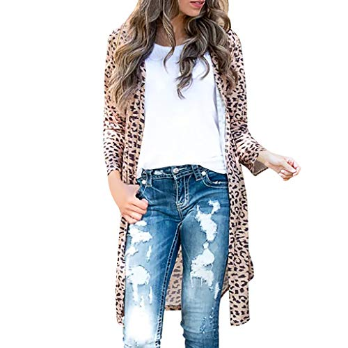 Luotuo Damen Strickjacke Lang Strickmantel Lange Ärmel Cardigan mit Schlangen-Print, Frauen Herbst Winter Casual Pulli Sweater Jacke Outwear Mode Bekleidung