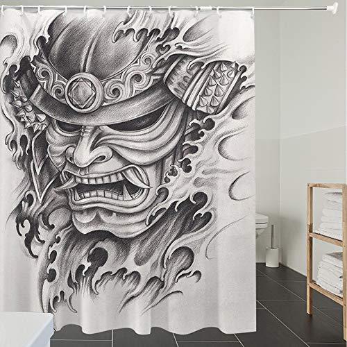 Duschvorhänge, Textil Bad Vorhang aus Polyester, Anti-Schimmel, Kabuki Maskendekoration, Warrior Samurai Drawing Angry Expression Historische Fig,Blickdicht, Wasserdicht, Waschbar, 180X180CM