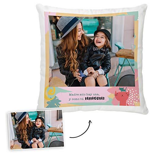 Fotoprix Cojín para Mamá Personalizado con Foto | Regalo para mamá Personalizable | Varios diseños Disponibles. (Diseño: Madre Solo Hay una, 35 x 35 cms)