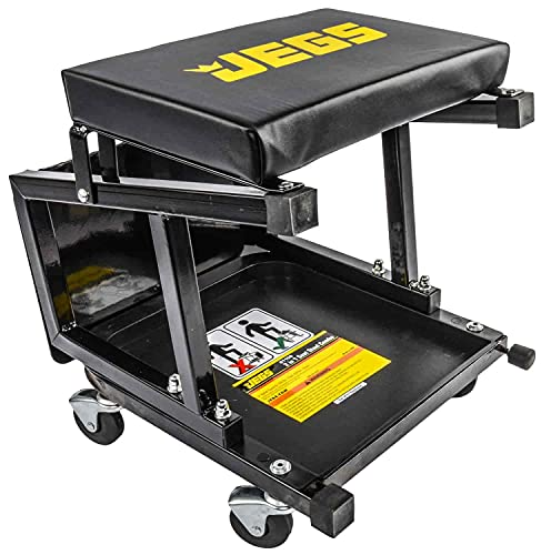JEGS Mechanic Seat and Step Stool | 300 LBS Capacity | Padded Seat | Black with JEGS Logo | Heavy-Duty Construction | Comfortable and Ergonomic Design | Smooth-Rolling Casters