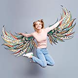 ROFARSO Wall Stickers Colorful Huge Angel Wings Original Vinyl Removable Large Wall Decals Art Decorations Decor for Girls Bedroom Living Room Playing Room Murals