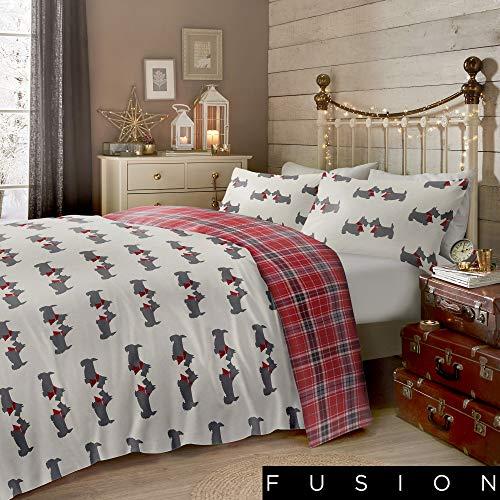 Fusion Scottie Dog - 100% Brushed Duvet Cover Set, Cotton, Multicolour, Single