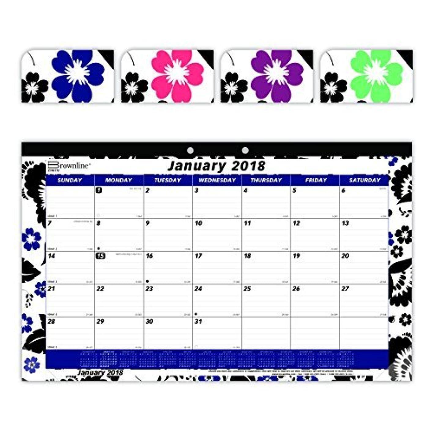 発火する代わりにを立てるラインBrownline 2018 Monthly Colorful Desk Pad Calendar Blossom 17.75 x 10.875 inches (C195112-18) [並行輸入品]