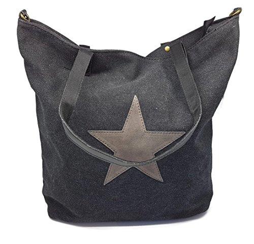 Bada Bing Damen Tasche schwarz Canvas Stern Umhängetasche Handtasche Lederoptik Trend