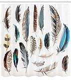 /N Animal Ducha Cortina pájaro Cuerpo Plumas Set impresión para baño