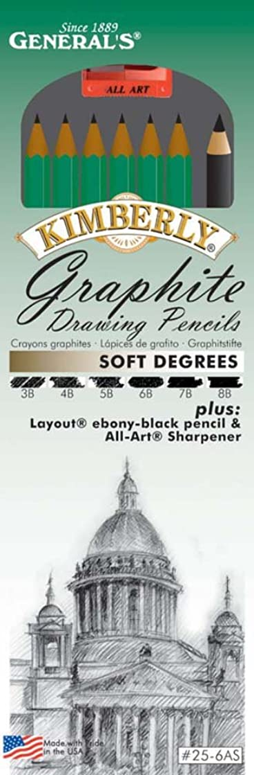 General Pencil GEN-25-6AS Kimberly Soft Graphite Drawing Pencil Set Multicolor