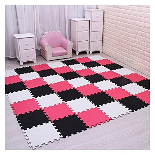 ZCDZJXB Children's Soft Development Crawling Blanket Play Mat With Fringe Foam Pad Black And White Play Mat Floor (Color : White black rose, Size : 18 pieces)