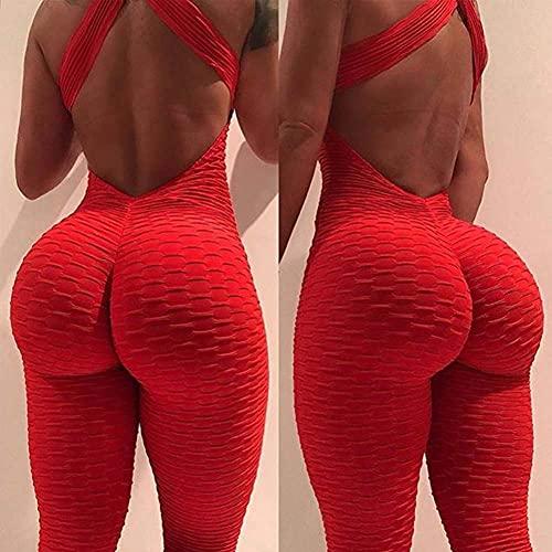 GaoF Mujeres Pantalones de Yoga de Alta Elasticidad Halter Body Sport Jumpsuit Pantalones de Yoga Medias de Fitness Leggings Ropa Deportiva
