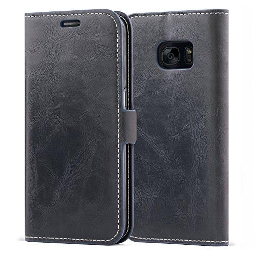 Mulbess Funda Samsung Galaxy S7 [Libro Caso Cubierta] [Bookstyle de Billetera Cuero] con Tapa Magnética Carcasa para Samsung Galaxy S7 Case, Azul Marino