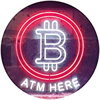 Bitcoin ATM Here Dual Color LED看板 ネオンプレート サイン 標識 白色 + 赤色 300 x 210mm st6s32-i3371-wr