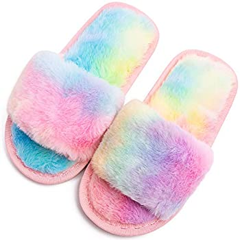 Boys Girls Fuzzy House Slippers Cute Comfy Faux Fur Slip On Fluffy Plush Open Toe Home Slides for Kids Indoor Outdoor Warm Shoes  Rainbow Numeric_13_Point_5