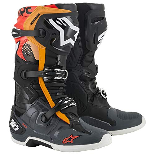 Alpinestars Tech 10 MX Boots 44.5 EU Black Gray Orange Red Fluo
