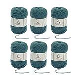 TEHETE Ovillo de lana, Hilados lana merino,6 Bolas x 50g, Hilo para manta,suéter calcetín, bufanda, diy, ganchillo y tejido-Verde oliva