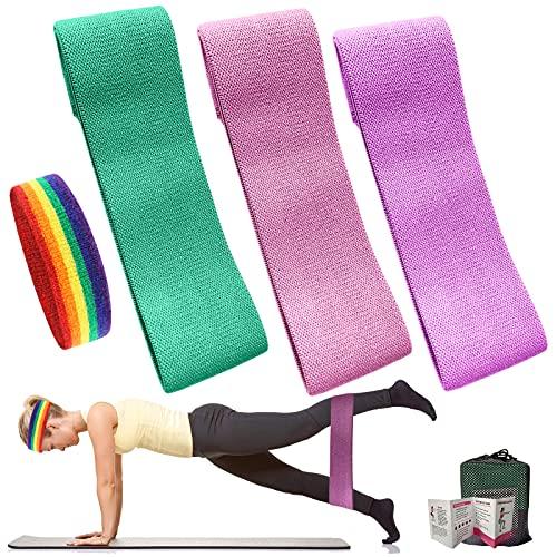 Bandas Elasticas Gluteos, Juego de 3 Bandas Elásticas Musculacion para Fitness con 3 Niveles, Bandas Elásticas de Resistencia Antideslizante para Ejercicios de Yoga, Pilates, Fitness, Crossfit