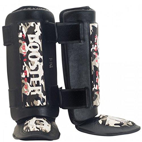 Booster Schienbeinschützer Thai Striker - Grey Camo - Kampfsport Muay Thai Thaiboxen MMA Kickboxen Schienbeinschützer Schienbeinschoner Sparring mit Gel Polsterung (M)