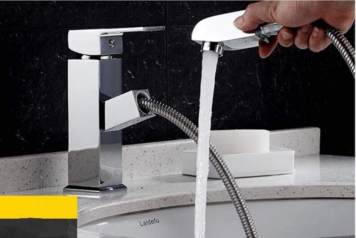 Kai&Guo Pull Out Chrome Finished Bathroom Sink Faucet Hot and Cold Single Lever Basin Faucet Style Brass basin faucet,WHITE