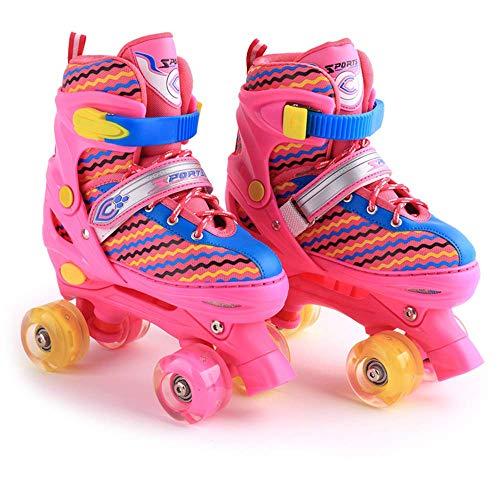 Quad rolschaatsen Dubbele rij rolschaatsen Verstelbare inline skates Training voor kinderen 4 wielen Rolschaatsen voor beginners Jongens Meisjes Schaats, roze-L (38-41)