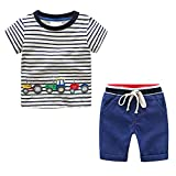 Ropa Niño Verano 2 Piezas Conjunto Ropa Bebé Recien Nacido Verano Niños Rayas Coche Estampado Camiseta Tops y Pantalones Cortos