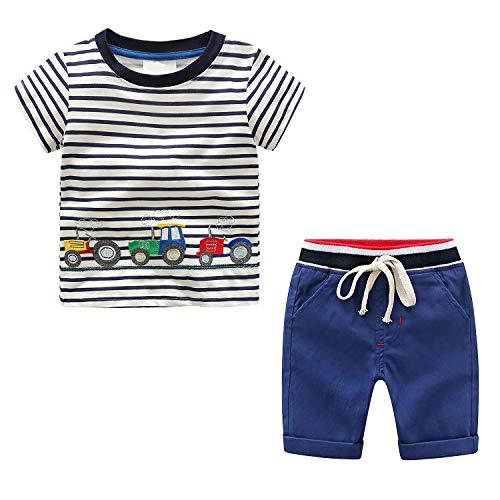 Camiseta y Pantalones Cortos Coche para bebé niños, Verano Camisa Manga Corta...