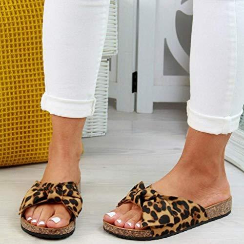 UMOOIN Frauen Hausschuhe Bow Flip Flops Ring Toe Riemchen Sommer Flache Sandalen für Damen Indoor & Outdoor-Strand-Schuhe,Leopard,37
