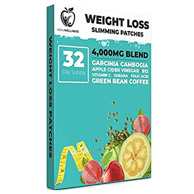 Weight Loss Slimming Patches - 32 Day Supply Increase Metabolism, Burn Calories and Boost Energy with Garcinia Cambogia, Apple Cider Vinegar, Green Bean Coffee