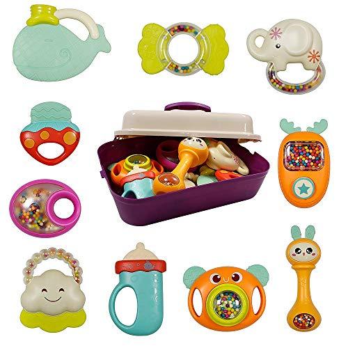 WISHTIME Rassel Beißring Set Baby Spielzeug - Shaker und Spin Rassel Spielzeug Frühpädagogisches Spielzeug Geschenke Set für 3, 6, 9, 12 Monate Neugeborenes Baby, Junge, Mädchen