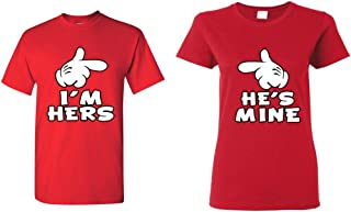 Cartoon Hands I'm Hers - He's Mine Couples Matching T-Shirts