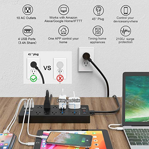 Smart Plug, Power Strip, POWSAV Smart Home WiFi Surge Protector with 5 Smart Outlets (Works with Alexa & Google Home) and 5 Always on outlets and 4 USB Ports, 6 Feet Extension Cord, Black, ETL Listed